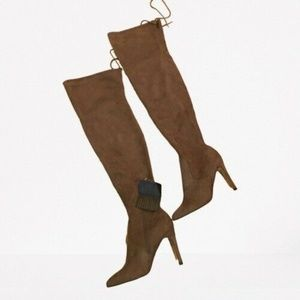 Forever 21 Over the Knee Faux Suede Taupe Tan Boot